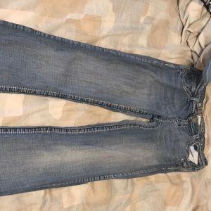 Woman's hydraulic boot cut blue jeans